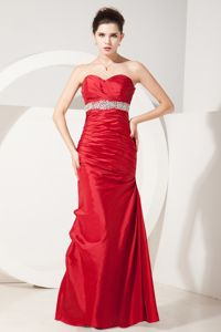 Red Mermaid Sweetheart Ruched Prom Dress in Satin with Beading