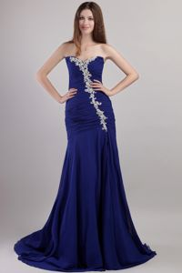 Sweetheart Chiffon Appliqued Prom Dress with Chapel Train in Blue