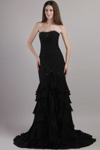 Black Mermaid Sweetheart Beaded Prom Dresses with Court Train in Tamworth