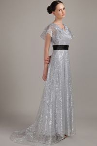 Grey V-neck Sequined Formal Prom Dress with Brush Train in Liverpool