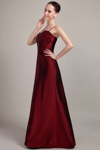 Burgundy Taffeta Beaded Dress for Prom with Spaghetti Straps in Lithgow