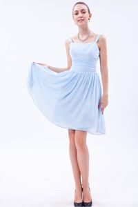 Baby Blue Straps Knee-length Chiffon Ruched Prom Dress in Newcastle NSW