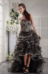 Brown Sweetheart High-low Organza Prom Dresses with Appliques