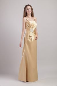 Champagne Appliqued Prom Gown Dress with Spaghetti Straps in Lithgow
