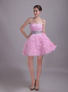 Baby Pink Sweetheart Mini-length Chiffon and Lace Prom Dresses in Liverpool
