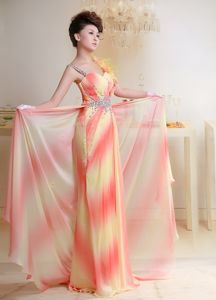 Beaded Chiffon Prom Dress With Court Train in Omber Color in Potton