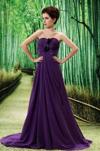 Dark Purple Prom Dress with Hand Made Flower and Ruches in Grafton