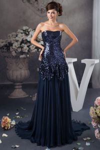 Sequined Decorate Bodice Court Train Mothers Dresses in Navy Blue