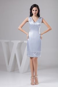 Silver V-neck Knee-length Dress for Prom with Beading in Goulburn