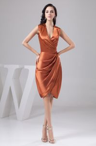 Ruched Orange V-neck Semi-formal Prom Dresses in Campbelltown