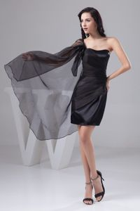 One Shoulder Mini-length Ruched Black Prom Dress in Taffeta in Goulburn