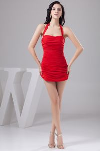 Sexy Halter Short Red Informal Prom Dress with Ruches in Liverpool