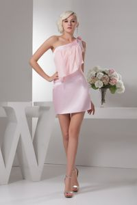 One Shoulder Mini-length Beaded Ruched Prom Dress in Baby Pink