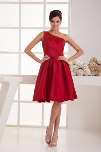 A-line Knee-length One Shoulder Beaded Wine Red Prom Dresses in Goulburn