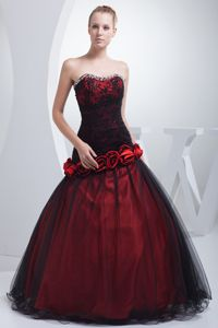 Sweetheart Hand Flowery Prom Outfits with Beading in Wine Red in Goulburn