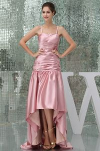 Pink High Low Informal Prom Dress with Spaghetti Straps in Cessnock