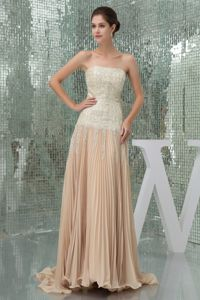 Champagne Strapless Sequined Prom Dresses with Brush Train in Armidale