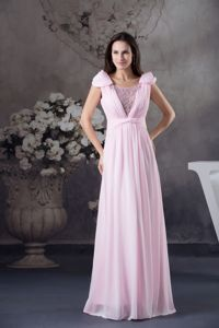 Long Beaded Scoop Formal Prom Dresses with Cap Sleeves in Cessnock