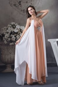 Beaded Semi-formal Prom Dresses in White and Peach in Cessnock