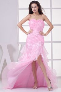 Pink Ruched and Ruffled Sweetheart Prom Gowns with High Slit and Lace