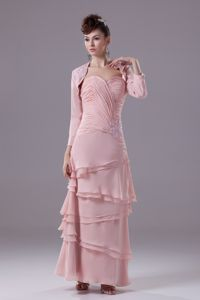 Sweetheart Ankle-length Sheath Prom Gown in Pink with Ruches and Zipper