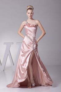 Baby Pink One Shoulder Prom Dress with Brush Train and High Slit in Mart