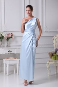 One Shoulder Ankle-length Prom Gowns in Light Blue with Silt in McLean
