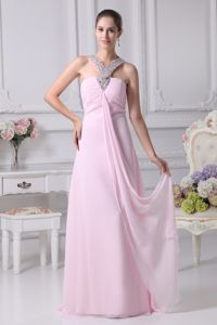 V-neck Floor-length Baby Pink Prom Gown with Lace Up Back in Mason