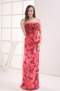 Muti-color Strapless Prom Outfits with Pattern and Hand-made Flowers