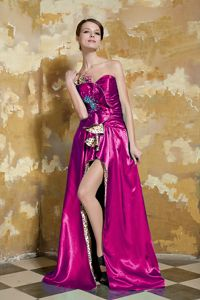 Sweetheart Sheath Brush Train Fuchsia Prom Gown with Pattern and Slit