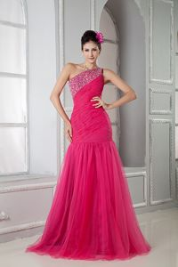 Beaded Coral Red Mermaid Prom Dresses with One Shoulder in Ivanhoe