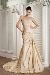 Champagne Beaded and Ruched Strapless Prom Gowns with Court Train