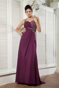 Beaded One Shoulder Brush Train Prom Outfits in Dark Purple in Idalou