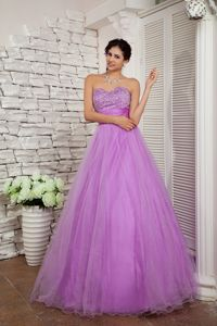 Light Purple Sweetheart A-line Floor-length Prom Dresses with Beading