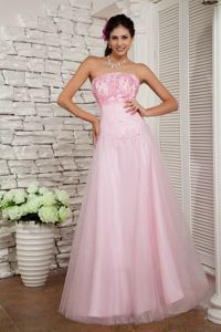 Baby Pink Beaded Strapless A-line Prom Gowns in Floor-length in Howe