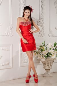 Sweetheart Sheath Mini-length Prom Gowns in Red with Sequins in Edna