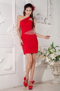 Red Beaded Column Mini-length Prom Outfits with One Shoulder in Gail