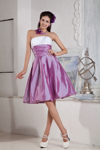 Lavender and White Strapless Knee-length Prom Gown Dress with Ruching