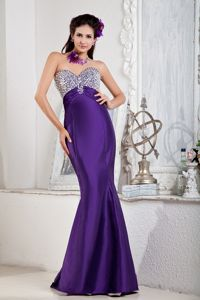Purple Sweetheart Floor-length Mermaid Prom Attire with Sequins in Cone