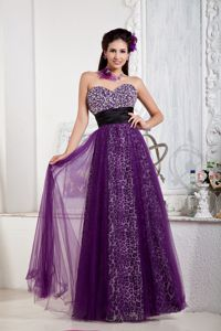 Sweetheart Purple Prom Dresses in Floor-length with Sequins and Pattern
