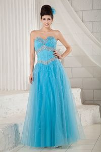 Beaded Sweetheart A-line Prom Gown Dresses in Blue with Lace Up Back