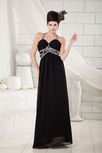 Black Straps Empire Floor-length Prom Gowns with Beading in Benavides