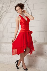 Halter top Red Formal Prom Dresses in Tea-length with Bowknot in Adkins