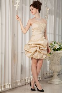 Ruched Strapless A-line Mini-length Champagne Prom Gown with Beading