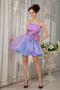 Lilac and Muti-color Spaghetti straps Prom Dress in Mini-length with Sash