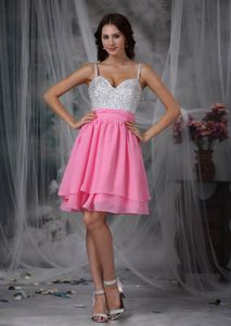 Beaded Pink and Silver Mini-length Prom Dresses with Spaghetti straps