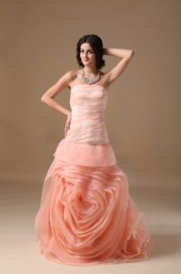 Strapless Ruffled A-line Prom Gown in Watermelon Red with Brush Train