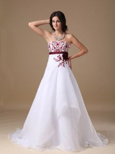White Strapless A-line Court Train Prom Dress with Embroidery in Argyle