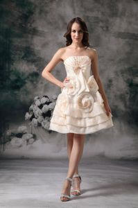 Champagne Strapless Knee-length Prom Gown with Hand-made Flowers