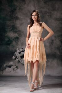 Asymmetrical Champagne Prom Dress for Petite Girls in Tynehead